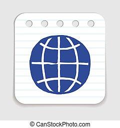 icon., 地球, いたずら書き