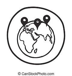 icon., 地球, ポインター, いたずら書き