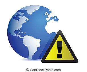icon:, 地球, 注意, イラスト