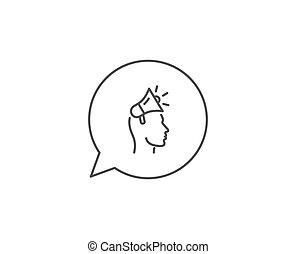 icon., 大使, 印。, ベクトル, 広告, 線, ブランド, メガホン, device.