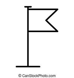 icon., 旗, ベクトル, 線, イラスト