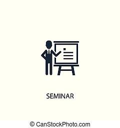 icon., 概念, illustration., シンボル, セミナー, design., 単純である, 缶, 使われた, ありなさい, 網, 要素