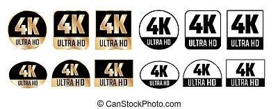 icon., 決断, standard., uhd, tv, hd, 高く, 定義, モニター, ベクトル, 4k, ディスプレイ, シンボル, ultra
