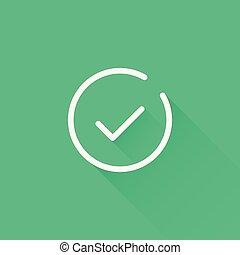 icon., 点検, 線, 長い間, 印, ベクトル, デザイン, 薄くなりなさい, tick., 白, shadow., アイコン