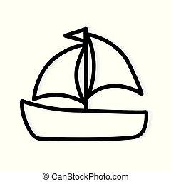 icon-, 矢量, 游艇, 小船, 插圖