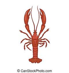 icon., 背景, 隔離された, アイコン, ベクトル, ロブスター, 漫画, lobster., 白
