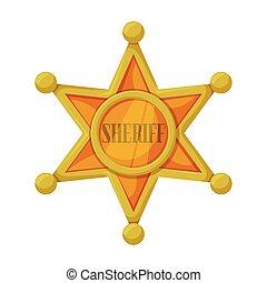 icon., 背景, 隔離された, アイコン, 保安官, ベクトル, sheriff., 漫画, 星, 白