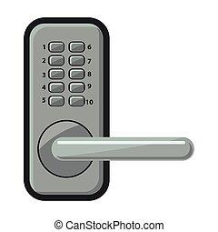 icon., 背景, doorknob., 隔離された, アイコン, ドアノブ, ベクトル, 漫画, 白
