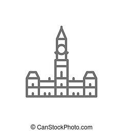icon., 議会, 線, 丘, オタワ