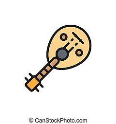 icon., 道具, 線, oud, 伝統的である, アラビア人, 音楽の色, 平ら