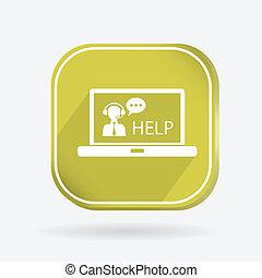 icon., 顧客サポート, ラップトップ色