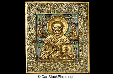 Icon 01 - An ancient saint metallic icon