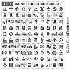 100 cargo logistics icon set.