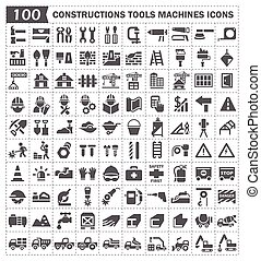 100 icon, constructions tools and machines.