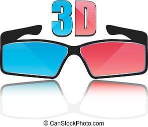 Icon 3D glasses, vector