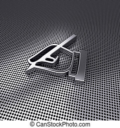 Icon 3d hand writing with pen on metal perforated.