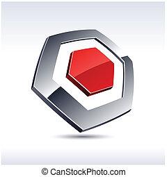 icon., 3d, hexágono, resumen