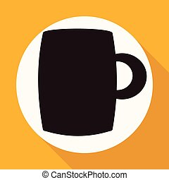 Icon A cup of coffee on white circle with a long shadow