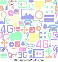 icon., achtergrond, media, seamless, sociaal, model