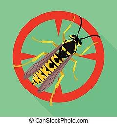 icon., achtergrond, vrijstaand, hornet, hornet., pictogram, vector, plat, witte