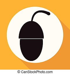 Icon acorn on white circle with a long shadow