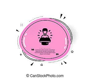 icon., advertisement., 大使, 話すこと, 人, 印。, ベクトル, ブランド