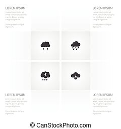 Icon Air Set Of Rain, Thunder, Raindrop And Other Vector Objects. Also Includes Rainy, Raindrop, Cloudy Elements.