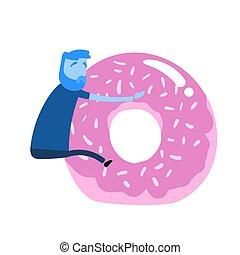 icon., aislado, fondo., diseño, plano, colorido, donut., ...