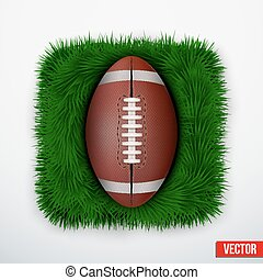 Icon american football ball in green grass. Vector.