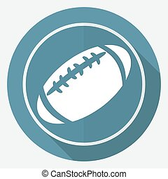 Icon american football on white circle with a long shadow