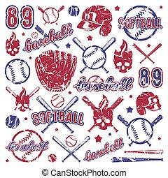 Icon and badge set of baseball and softball equipment