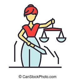 icon., apartamento, estátua, themis, linear, femida, justiça, concept., editable, isolado, ilustração, vetorial, stroke., fundo, branca, lei, linha