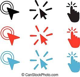 icon., app, souris, rempli, ton, toile, icône, double clic, symbole, plat, logo, vecteur, ui., style., site, ensemble, blanc, conception, arrière-plan.