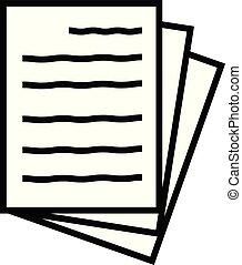 icon., app, ton, page, symbole., toile, signe., icône, plat, logo, 3, fichier, ui., style., simple, site, blanc, papier, conception, document, arrière-plan.