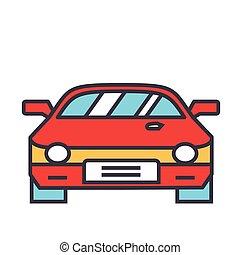 icon., appartamento, vettore, lineare, concept., editable, isolato, illustrazione, automobile, corsa, stroke., fondo, bianco, da corsa, linea