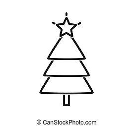 icon., arbre noël, contour, étoile