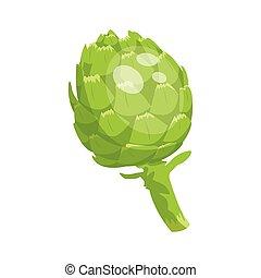 icon., artichaut, dessin animé, vert, vecteur, organique, illustration., frais