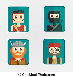 Icon avatar combat characters.