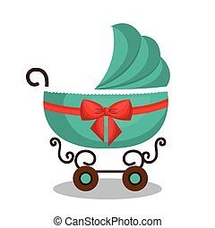 icon baby carriage green design