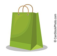 icon bag green shop paper design