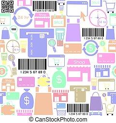icon., bakgrund, inköp, seamless, mönster