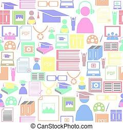 icon., bakgrund, inlärning, mönster, seamless