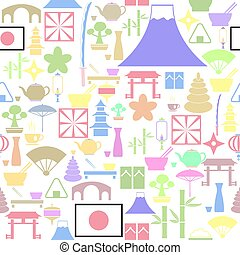 icon., bakgrund, japan, seamless, mönster