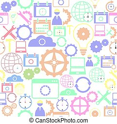 icon., bakgrund, seamless, inställningar, mönster