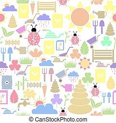 icon., bakgrund, seamless, mönster, gräsmatta