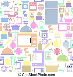 icon., bakgrund, seamless, mönster, kök