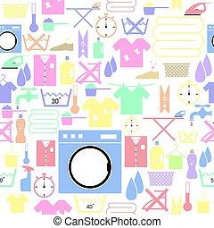icon., bakgrund, seamless, mönster, tvättstuga