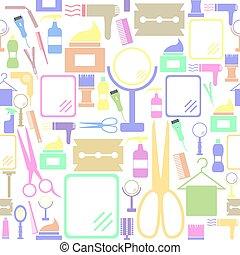 icon., bakgrund, seamless, salon, mönster
