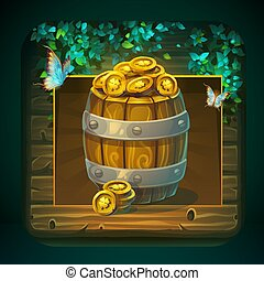 Icon barrel with gold coins for game user interface