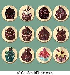 icon., barwny, cupcake